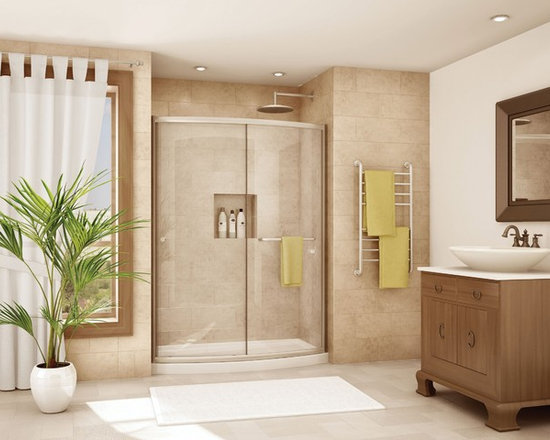 Fleurco Banyo Amalfi Bowfront 60 Frameless Curved Sliding Door EABF60 - Deluxe anti-jump smooth rolling system