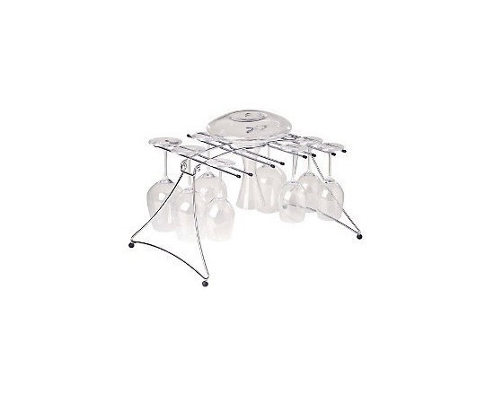 Large Folding Decanter and Wine Glass Dryer - Fold flat save on space. Hang on the size of this popular dryer has now been expanded to hold 16 glasses plus a decanter! The perfect tool for air-drying your glassware this stainless steel rack hangs stems up to 10'H.