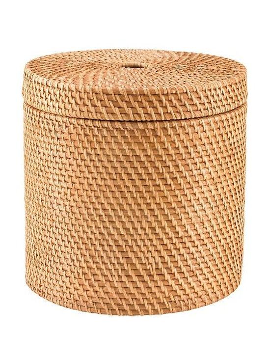 Rattan Round Floor Basket, Honey -