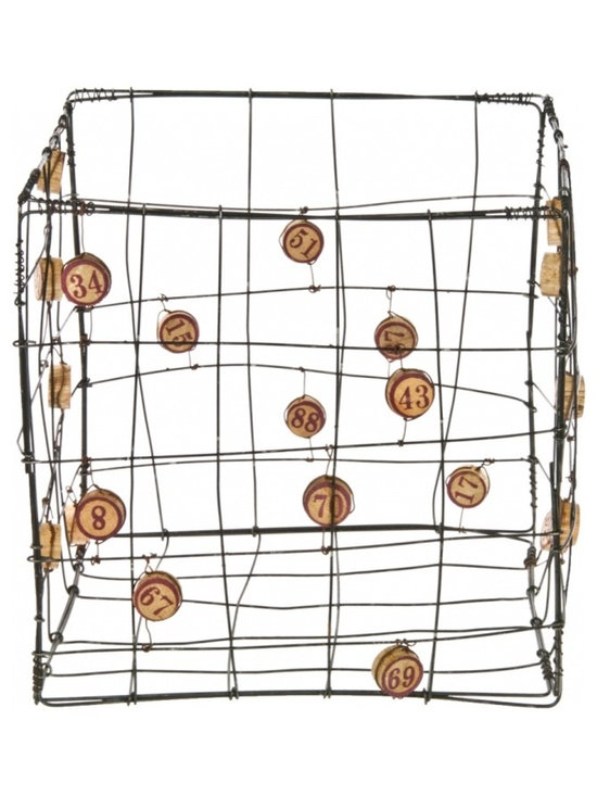 Wire Bingo Marker Bin - Vintage handmade folk art wire basket with wood bingo number accents.