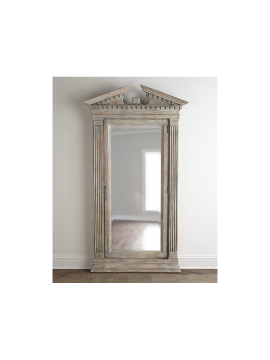 Horchow - Cavalier Storage Floor Mirror - Reminiscent of ancient Greek architectural design, this striking floor mirror features a broken pediment top, acanthus-leaf carving, fluted columns, and a molded plinth base. But there's more to it than meets the eye. Behind the beveled-mirror door is a...