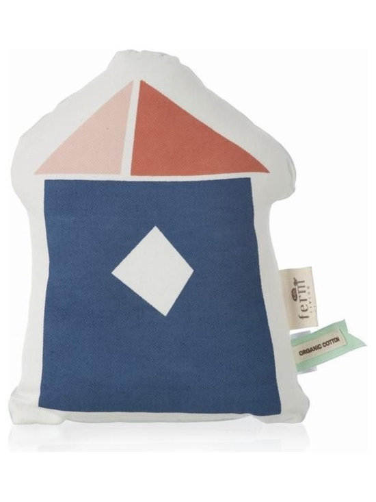 Ferm Living Organic The Village 1 Pillow - Create your own little town with the stuffed Village Cushions by Ferm Living. There are four different houses to choose from – each house has a light blue back and is made of organic cotton.