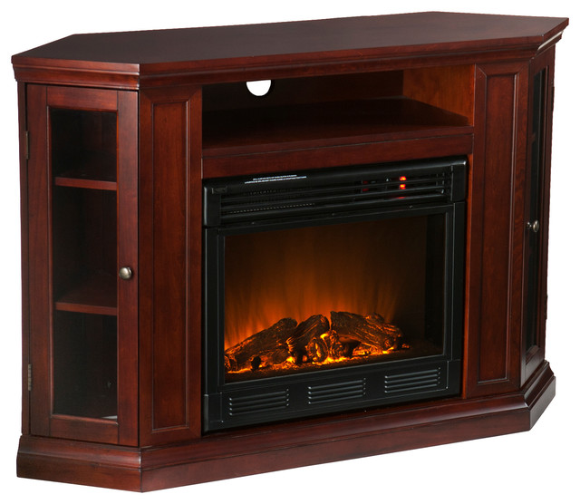 Pomona Convertible Media Electric Fireplace Cherry Contemporary Indoor Fireplaces By Shop