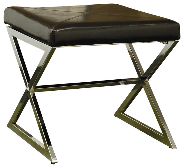 Coaster Ottoman With Metal Base And Brown Faux Leather