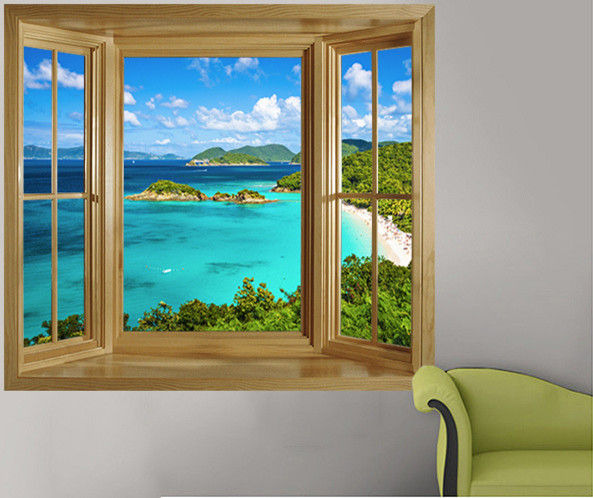 ... window wall decal ebay; similiar window illusion murals keywords