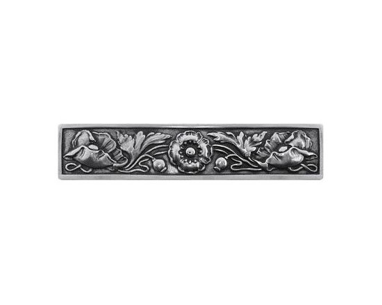 """Inviting Home - Poppy Pull (brilliant pewter) - Hand-cast Poppy Pull in brilliant pewter finish; 5""""W x 1-1/2""""H; Product Specification: Made in the USA. Fine-art foundry hand-pours and hand finished hardware knobs and pulls using Old World methods. Lifetime guaranteed against flaws in craftsmanship. Exceptional clarity of details and depth of relief. All knobs and pulls are hand cast from solid fine pewter or solid bronze. The term antique refers to special methods of treating metal so there is contrast between relief and recessed areas. Knobs and Pulls are lacquered to protect the finish. Detailed Description: Poppy knobs are part of English Garden Hardware Collection. Reflecting the meticulous effort that produced these stunning gardens from a bygone era each of the knobs and pulls in this line features individually hand-cast and hand-finished design work. There are soft graceful roses and poppies reminiscent of classic beauty and elegance. While others like Dianthus Knobs and Mountain Ash knobs feature crisply detailed styling with colorful background. Each knob's design marries Mother Nature and Craftsmanship into decorative hardware that adds beauty to any room of your home."""