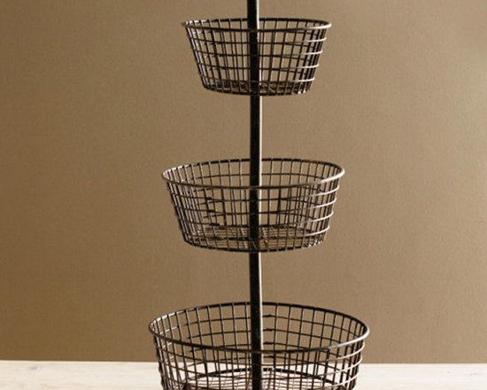 Three Tier Wire Basket - As seen in Country Living - This vintage style container is a sophisticated classic in the kitchen that doubles as a event server. It provides easy access to fruits and healthful snacks, acts as an attractive server for parties and events and works great for storage and organization!
