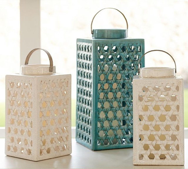 Shoreline Ceramic Lattice Lantern Turquoise Large