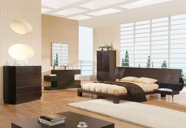 Unique Wood Modern Contemporary Master Beds with Extra Storage asian-beds