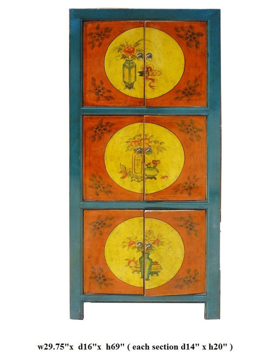 Chinese Blue & Orange Vase 3 Shelves Cabinet - This cabinet is painted with blue rim color and orange and yellow doors color. The graphic is simple oriental flowers and vases. The side and back is black color. It is a decorative storage cabinet for the living room or office.