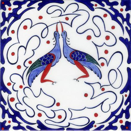 Custom Fully Handmade Turkish Iznik Chini Tiles traditional-artwork