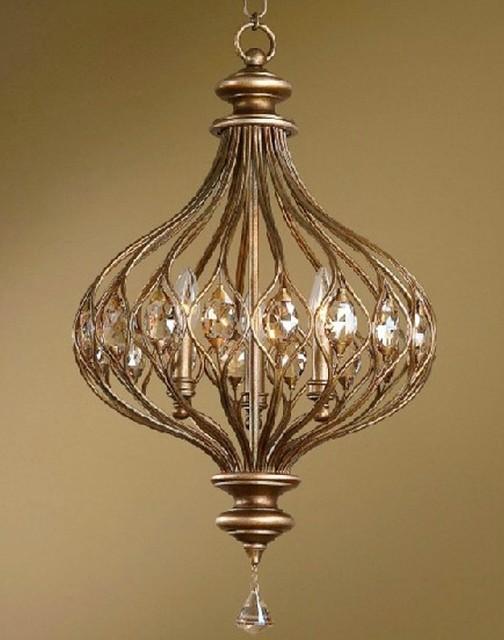 Antique Metal Art and Crystal Pendant Lighting contemporary-pendant-lighting