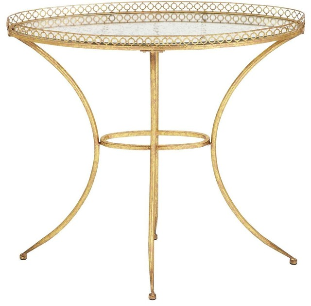 Glass Accent Table in Golden Finish with Vintage Style traditional-side-tables-and-end-tables