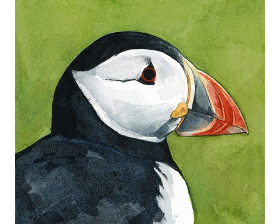 "Atlantic Puffin Watercolor Print - 5x5"" Portrait of an Atlantic Puffin on sap green. Painted in watercolor."
