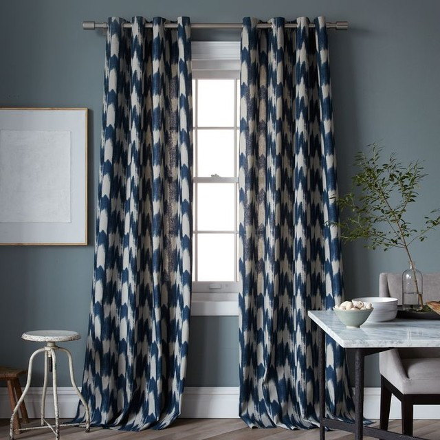Painted ikat print window panel contemporary curtains for West elm window treatments