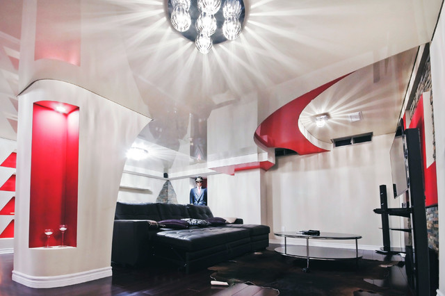 Curvaceous Multilevel Stretch Ceiling In Striking Red And