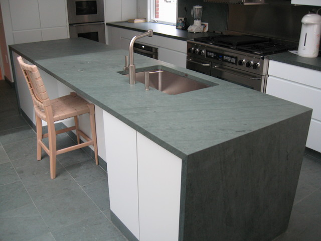 Kitchen Island Slate Countertop & Slate Flooring  Kitchen Countertops