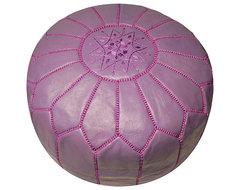 Leather Lavender Pouf Ottoman mediterranean-ottomans-and-cubes