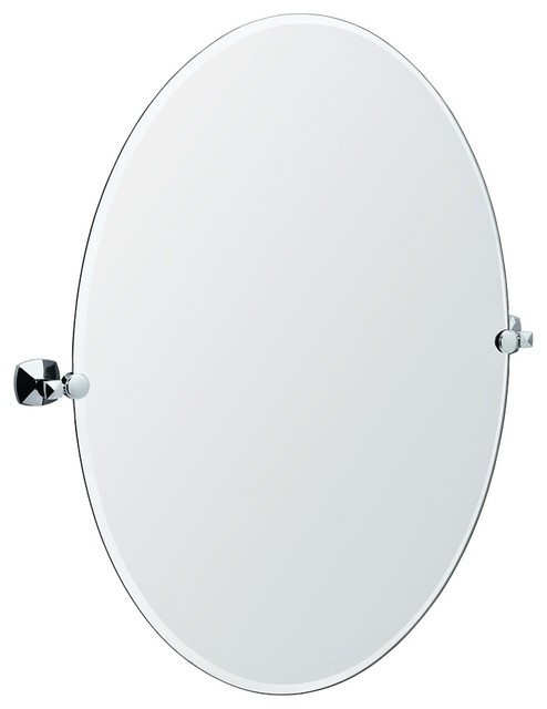 "Contemporary Gatco Jewel Chrome Finish Oval 32"" High Tilt Wall Mirror contemporary-mirrors"