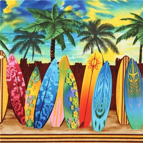 colourful surfboard stripe fabric Timeless Treasures USA fabric