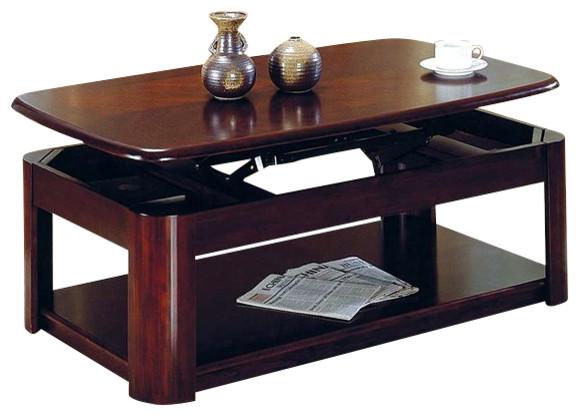 Steve silver company lidya rectangular cherry wood lift for Cherry wood lift top coffee table