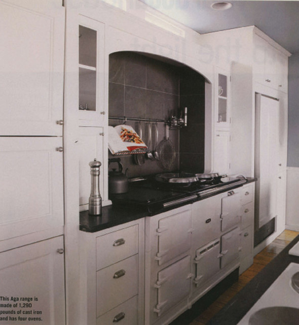 kitchen cook wall with AGA traditional