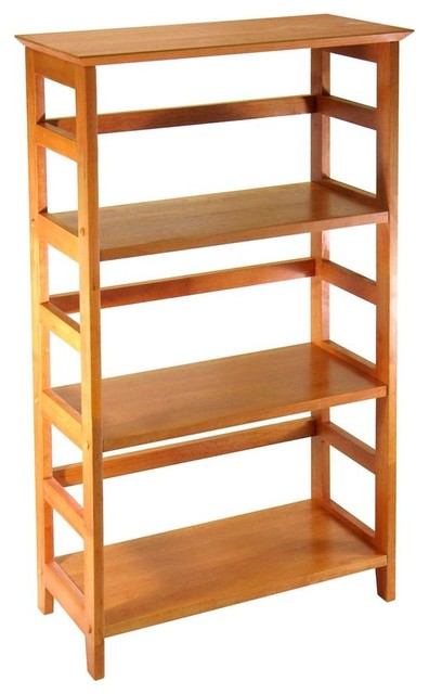 Open Back Bookshelf In Honey Pine Finish Contemporary