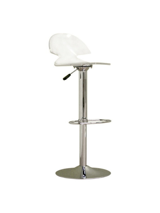 Baxton Studio - Baxton Studio Clear Acrylic Adjustable Stool - Pull up a seat at the bar no matter what height it is. Retro and modern at the same time, this is a bar stool that only well decorated bars can dream of. This clear acrylic stool has a hydraulic lift making it impossible to ever be uncomfortable in any bar situation, unless of course the person next to you strikes up an awkward conversation.