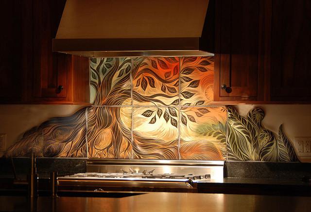 Tree of Life, backsplash tile contemporary-home-decor
