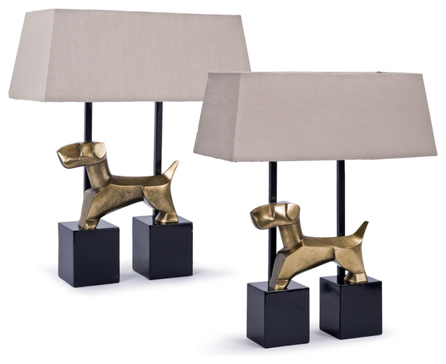 Pair Of Stone Metal Terrier Dog Table Lamps