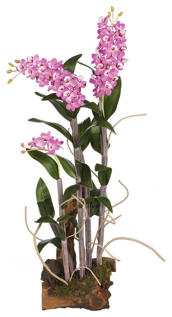 Dendrobium Silk Orchid Arrangement with Root Base contemporary-indoor-pots-and-planters