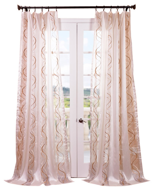 Camille Taupe Gold Embroidered Sheer Curtain contemporary-curtains