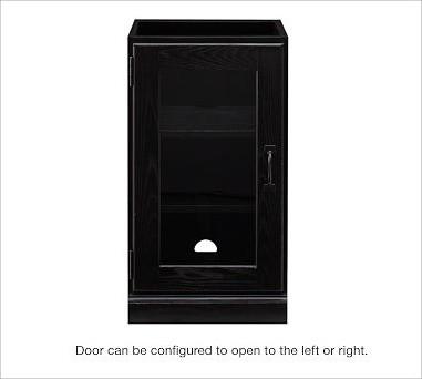 Printer's Single Glass Door Cabinet, Artisanal Black stain