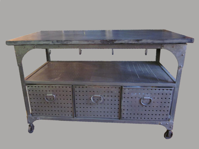 Industrial Cart With Slate Top  Kitchen Islands And Kitchen Carts