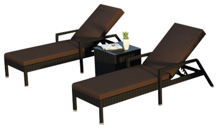 Urbana 3 Piece Wicker Chaise Lounge Set, Coffee Cushions modern-outdoor-chaise-lounges