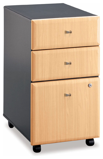 Three Drawer Wood Panel Filing Cabinet - Seri - Contemporary - Filing Cabinets - by ShopLadder