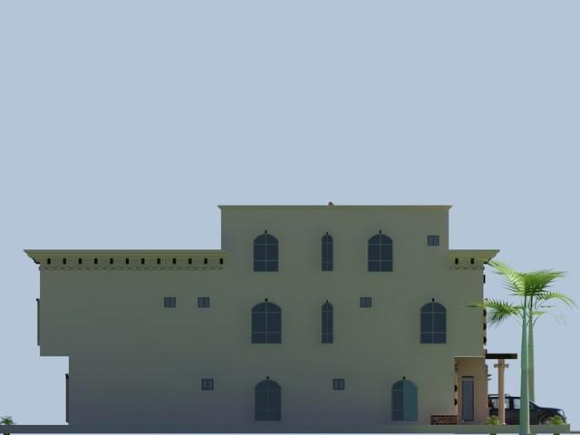 Beautiful Luxury Saudi Arabian Villa 3D front elevation House design traditional-rendering