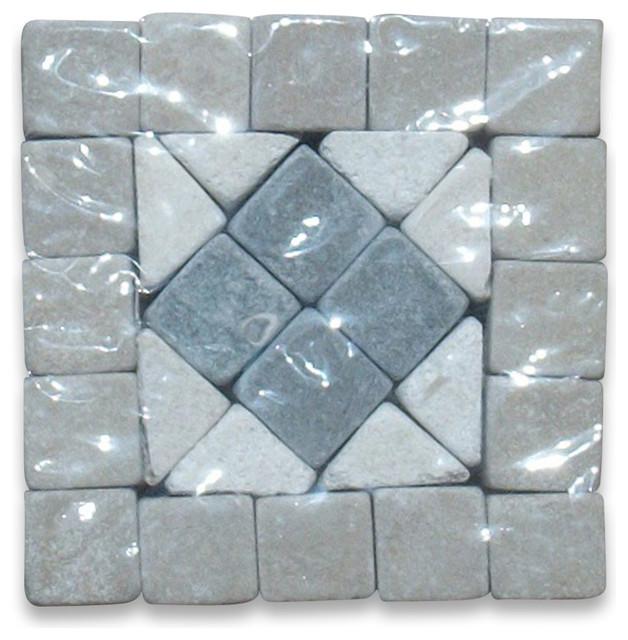 Greece 2x2 Marble Mosaic Border Corner Tumbled floor-tiles