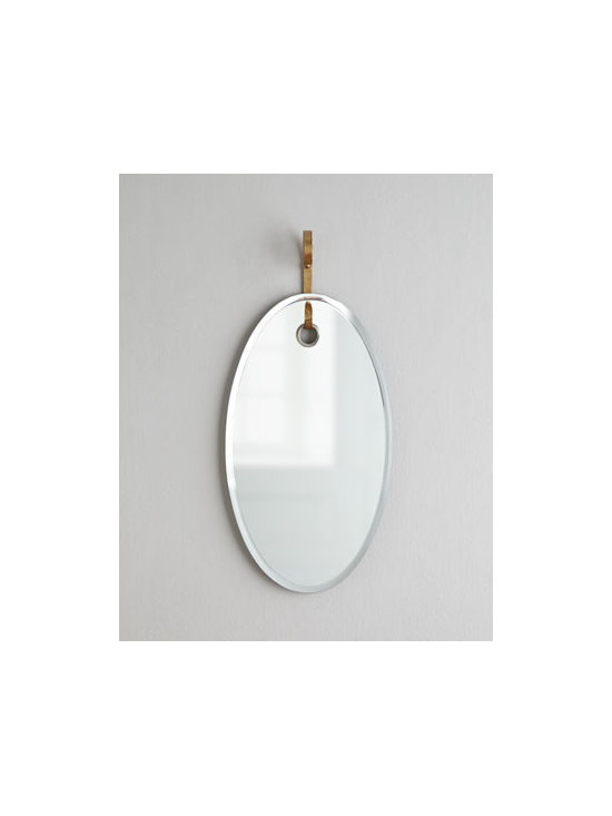 """Arteriors - Arteriors """"Vienna"""" Oval Mirror - A clean, transitional interpretation of a classic design, this oval mirror brings unique style to any living space. An ornamental hanger for vertical display adds distinction. Beveled plain mirror. Iron hanger with gold-leaf finish. 15""""W x 4""""D x 32""""T. Imported. Boxed weight, approximately 11.5"""