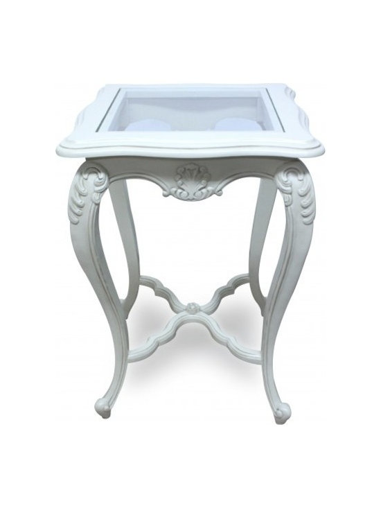 Chichi Furniture - This gorgeous side table will be the perfect addition to your home, adding French style and charm. With glass top and elegantly carved scroll legs, this piece is small but perfectly formed!!
