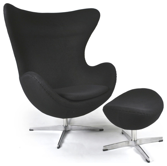 Kardiel Egg Chair & Ottoman, Black Boucle Cashmere Wool midcentury-living-room-chairs