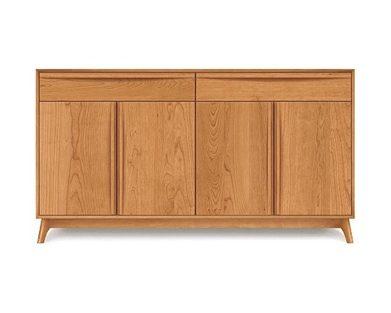 Copeland Furniture - Catalina Cherry Two-Drawer/Four-Door Buffet | Copeland Furniture - Made in Vermont by Copeland Furniture.Suggestive of the works of America's Mid-Century Modern designers, the  Catalina Cherry Two-Drawer/Four-Door Buffet offers retro-modern shapes and sensibilities. This modernist buffet features two drawers over a main four-door cabinet. Drawers and doors offer sleek integrated wooden bar pulls and soft-close (self closing) hardware. Each drawer features asymmetrical English dovetail joinery and the interiors are fully finished. One drawer features a silverware drawer interior with Guardian Anti Tarnish lining and cloth. Crafted from solid cherry hardwood, the Catalina Cherry Two-Drawer/Four-Door Buffet provides impeccable quality to last through generations of use and enjoyment. Copeland Furniture uses sustainably harvested hardwoods from the American Northern Forest. All lumber used by Copeland Furniture comes from within 500 miles of their factory in Vermont, thus reducing fossil fuel consumption and carbon dioxide emissions from transportation. The environmental values of preservation and stewardship are reflected in every piece of furniture produced by Copeland Furniture. Product Features:  Two-drawers and two storage cabinets Integrated drawer and door pulls Soft-close (self-closing) hardware on drawers and doors English dovetail joinery drawers Fully finished drawer interiors Designated separated silverware drawer Adjustable cabinet shelves Silverware drawer with Guardian Anti Tarnish lining and cloth Compatible with the Optional Catalina Cherry Hutch (sold separately) Made in the U.S.A. of solid cherry wood