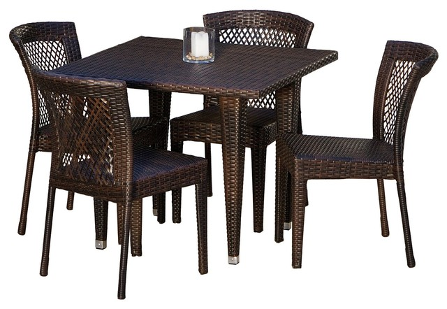 Montgomery 5 pieces outdoor wicker dining set tropical for Great deals on outdoor furniture