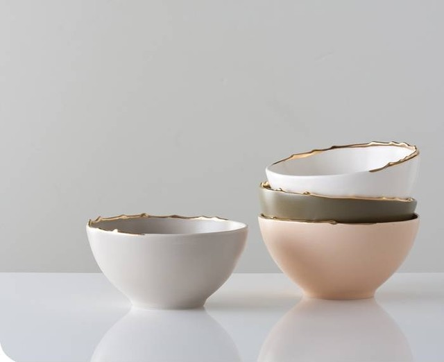 Flawed Gold-Plated Set of Bowls contemporary dinnerware