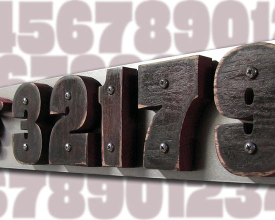 Address Plaques - CUSTOM EAMES Style House Numbers Oak & Stainless