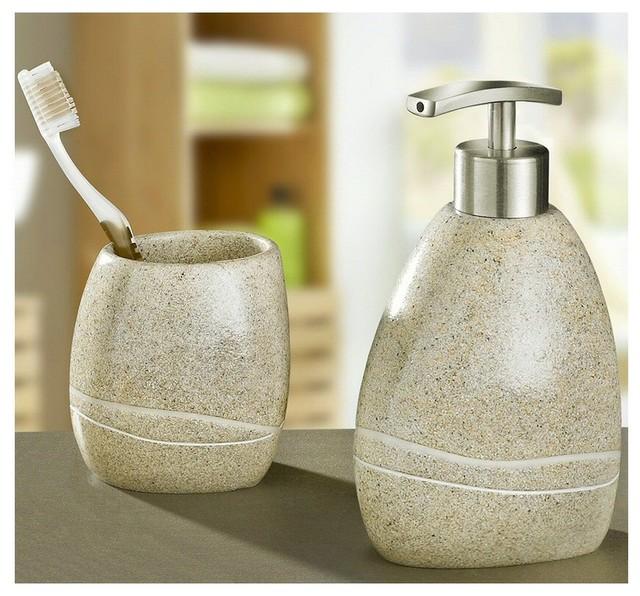 Stone polyresin modern bathroom accessories set of 2 for Beige bathroom accessories set