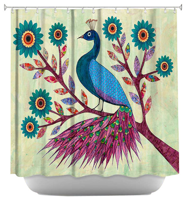Shower Curtain Artistic Blue Peacock Contemporary
