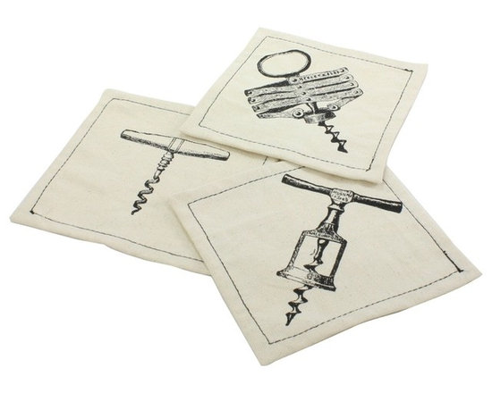 Fathers Day 2013-Corkscrew Cotton Coasters- Set Of 6 - Corkscrew Cotton Coasters- Set Of 6