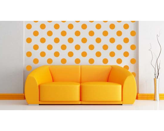 Pack wall stickers - You will be surprised of how a simple pack of dots will make a huge difference in any room. Order more than one set and play with the colors and decorate an entire wall for a affordable price. Even dots comes in 4 different sizes and 24 colors. The starting price is $19. Have fun!