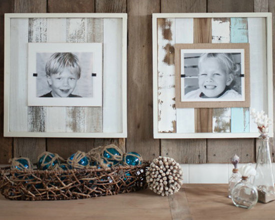 """Sea Mist Reclaimed Wood Frame - Now available in a Seaside style Sea Mist wash - our extra large frames (22"""" x 22"""") crafted of weathered and painted wood have a cream colored interior frame to feature an 8"""" x 10"""" photo. Easy front loading, clamping system under Plexiglas makes photo updates a breeze. Available with or without outside box frame."""